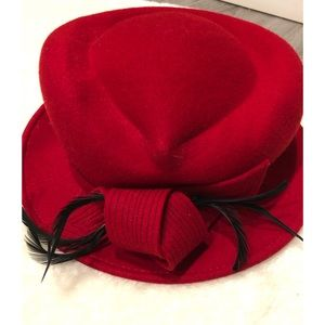 Vintage Italian Wool Red Lady Rachel Hat